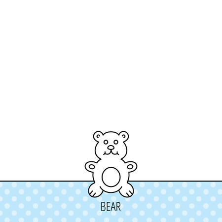 plush: Teddy-bear icon. Baby toy sign. Plush animal symbol. Circles seamless pattern. Background with icon. Vector Illustration
