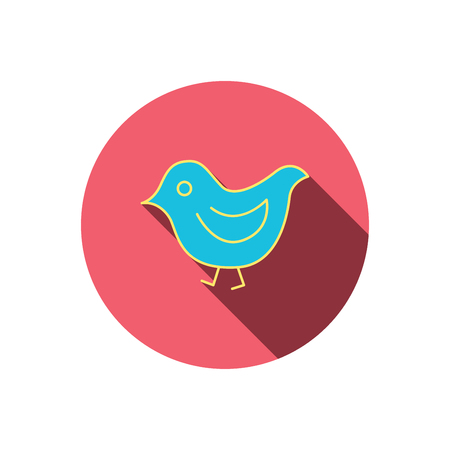 fowl: Bird icon. Chick with beak sign. Fowl with wings symbol. Red flat circle button. Linear icon with shadow. Vector