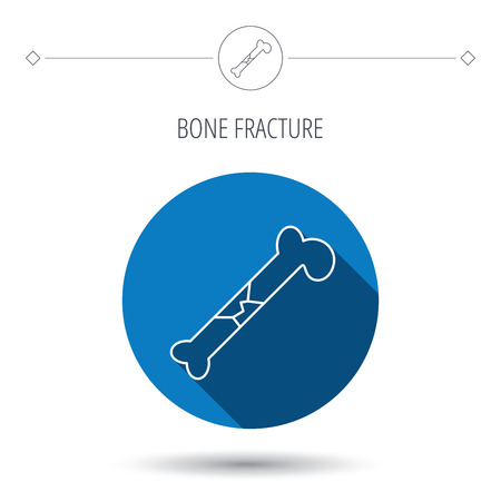 osteo: Bone fracture icon. Traumatology sign. Human bone break. Blue flat circle button. Linear icon with shadow. Vector Illustration