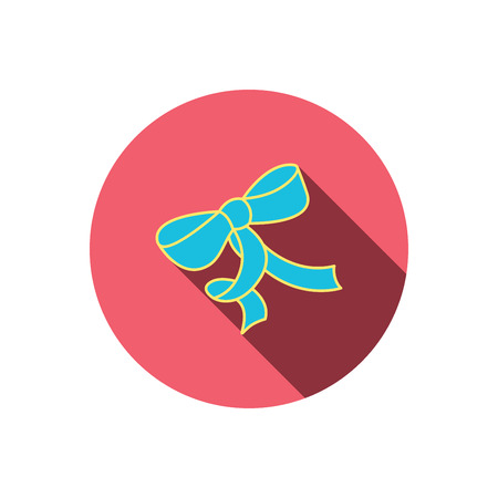 tied girl: Gift bow icon. Present decoration sign. Ribbon for packaging symbol. Red flat circle button. Linear icon with shadow. Vector