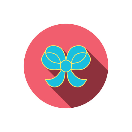 bowknot: Bow icon. Gift bow-knot sign. Red flat circle button. Linear icon with shadow. Vector