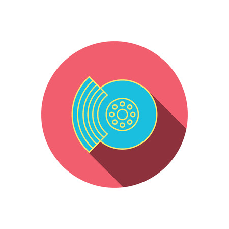 brakes: Brakes icon. Auto disk repair sign. Red flat circle button. Linear icon with shadow. Vector