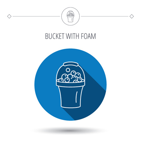 soapy: Bucket with foam icon. Soapy cleaning sign. Blue flat circle button. Linear icon with shadow. Vector