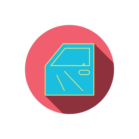 overhaul: Icona portiera della macchina. Automobile bloccare segno. Red tasto cerchio piatta. Icona lineare con ombra. Vettore