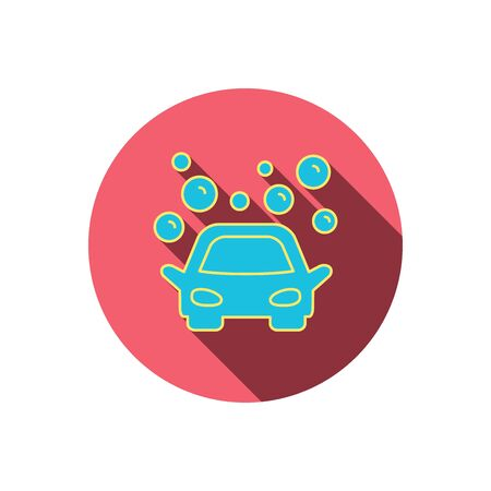 foam bubbles: Car wash icon. Cleaning station sign. Foam bubbles symbol. Red flat circle button. Linear icon with shadow. Vector Illustration