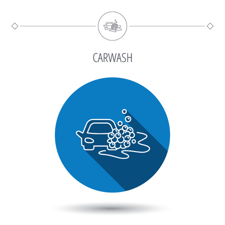 foam bubbles: Car wash icon. Cleaning station sign. Foam bubbles symbol. Blue flat circle button. Linear icon with shadow. Vector