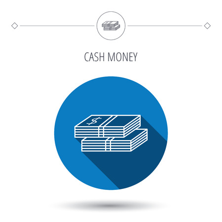 wads: Cash icon. Dollar money sign. USD currency symbol. 2 wads of money. Blue flat circle button. Linear icon with shadow. Vector