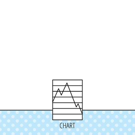 demand: Chart curve icon. Graph diagram sign. Demand reduction symbol. Circles seamless pattern. Background with icon. Vector