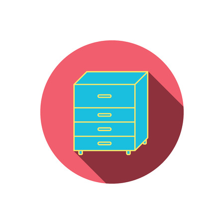drawers: Chest of drawers icon. Interior commode sign. Red flat circle button. Linear icon with shadow. Vector