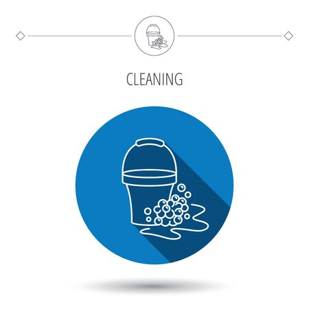 soapy: Soapy cleaning icon. Bucket with foam and bubbles sign. Blue flat circle button. Linear icon with shadow. Vector