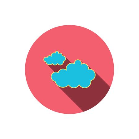 overcast: Cloudy icon. Overcast weather sign. Meteorology symbol. Red flat circle button. Linear icon with shadow. Vector
