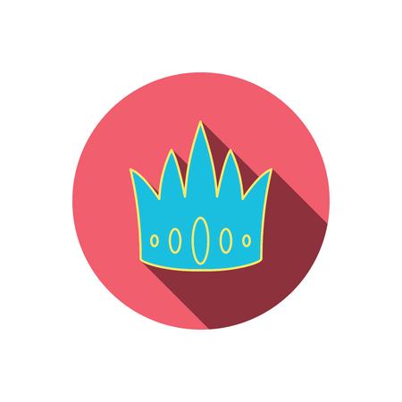 vip symbol: Icono de la corona. Royal signo rey sombrero. S�mbolo VIP. Bot�n c�rculo plano Rojo. Icono lineal con la sombra. Vector