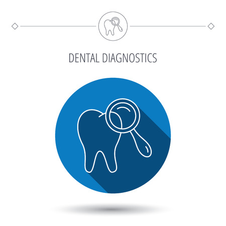 diagnostic: Dental diagnostic icon. Tooth hygiene sign. Blue flat circle button. Linear icon with shadow. Vector Illustration