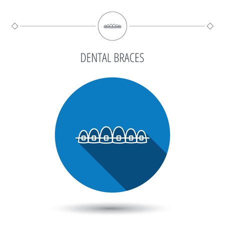 dental braces: Dental braces icon. Teeth healthcare sign. Orthodontic symbol. Blue flat circle button. Linear icon with shadow. Vector