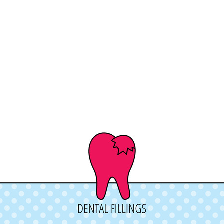 fillings: Dental fillings icon. Tooth restoration sign. Circles seamless pattern. Background with red icon. Vector