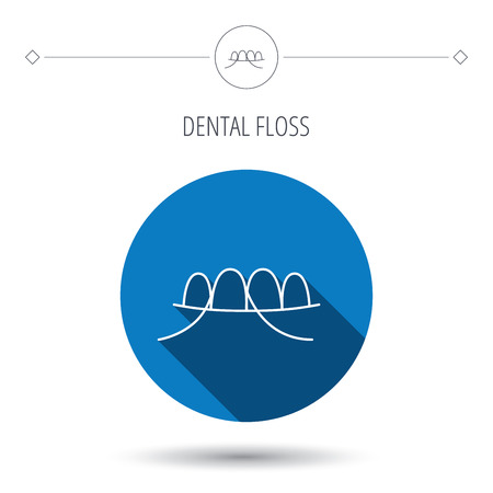 oral hygiene: Dental floss icon. Teeth cleaning sign. Oral hygiene symbol. Blue flat circle button. Linear icon with shadow. Vector Illustration