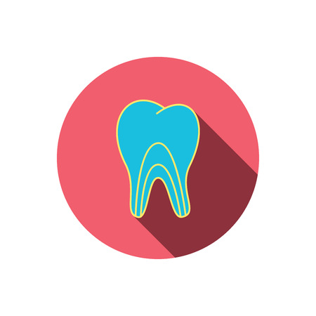 pulpitis: Dentinal tubules icon. Tooth medicine sign. Red flat circle button. Linear icon with shadow. Vector Illustration
