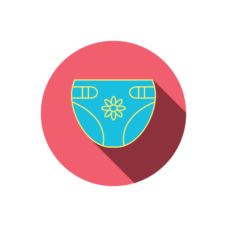 incontinence: Diaper with flower icon. Child underwear sign. Newborn protection symbol. Red flat circle button. Linear icon with shadow. Vector Illustration