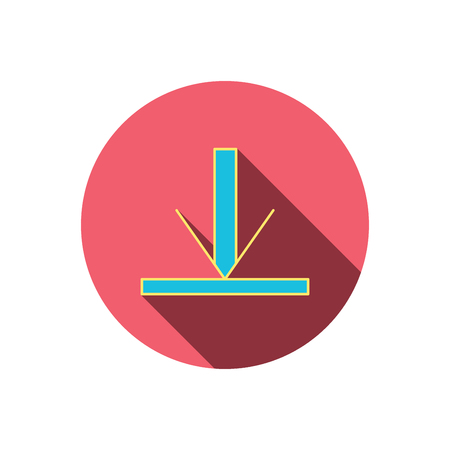 down load: Download icon. Down arrow sign. Internet load symbol. Red flat circle button. Linear icon with shadow. Vector