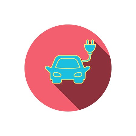 hybrid: Electric car icon. Hybrid auto transport sign. Red flat circle button. Linear icon with shadow. Vector