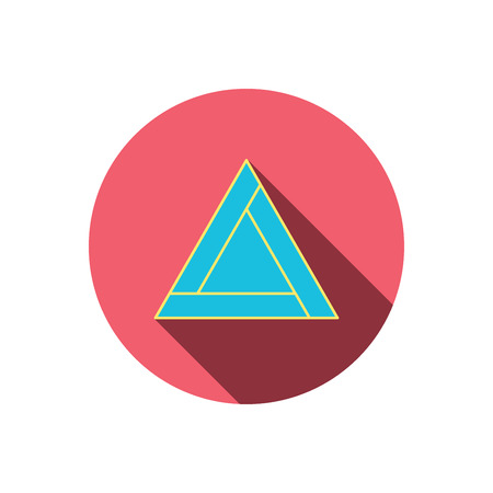 triangle button: Emergency sign icon. Caution triangle sign. Red flat circle button. Linear icon with shadow. Vector