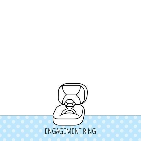 jewellery box: Engagement ring icon. Jewellery box sign. Circles seamless pattern. Background with icon. Vector Illustration