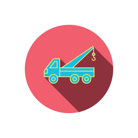 evacuate: Evacuator icon. Evacuate parking transport sign. Red flat circle button. Linear icon with shadow. Vector Illustration