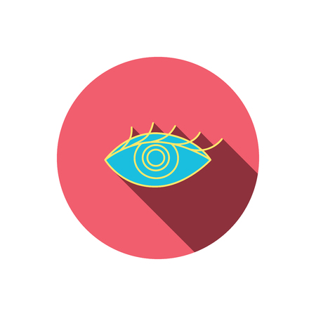 ophthalmology: Eye icon. Human vision sign. Ophthalmology symbol. Red flat circle button. Linear icon with shadow. Vector Illustration