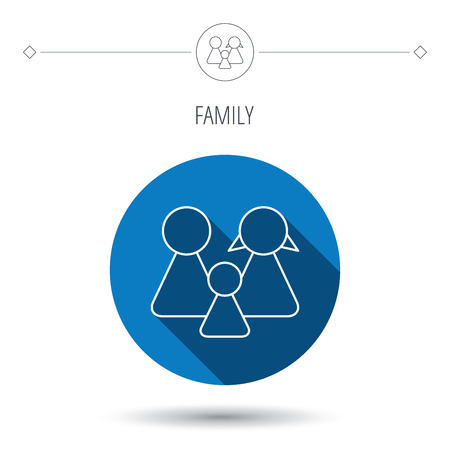 male and female: Family icon. Male, female and child sign. Blue flat circle button. Linear icon with shadow. Vector