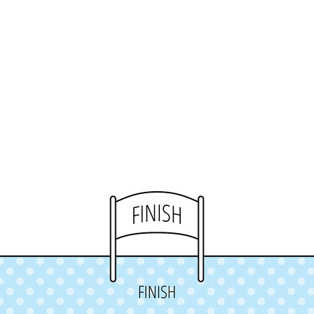 checkpoint: Finish banner icon. Marathon checkpoint sign. Circles seamless pattern. Background with icon. Vector Illustration