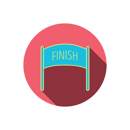 checkpoint: Finish banner icon. Marathon checkpoint sign. Red flat circle button. Linear icon with shadow. Vector
