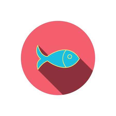 aquaculture: Fish icon. Seafood sign. Vegetarian food symbol. Red flat circle button. Linear icon with shadow. Vector