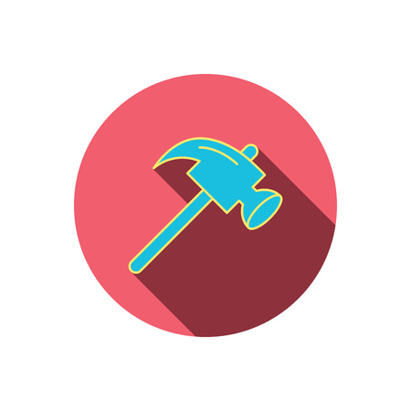 mat�riel chantier: Hammer icon. Repair or fix sign. Construction equipment tool symbol. Red flat circle button. Linear icon with shadow. Vector