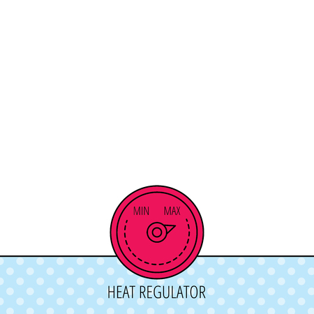 regulator: Heat regulator icon. Radiator thermometer sign. Circles seamless pattern. Background with red icon. Vector Illustration