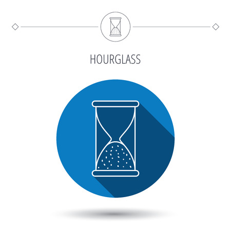 end of time: Hourglass icon. Sand end time sign. Hour ends symbol. Blue flat circle button. Linear icon with shadow. Vector