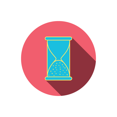 end of time: Hourglass icon. Sand end time sign. Hour ends symbol. Red flat circle button. Linear icon with shadow. Vector