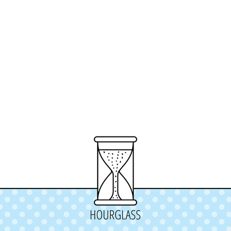 starting: Hourglass icon. Sand time starting sign. Circles seamless pattern. Background with icon. Vector