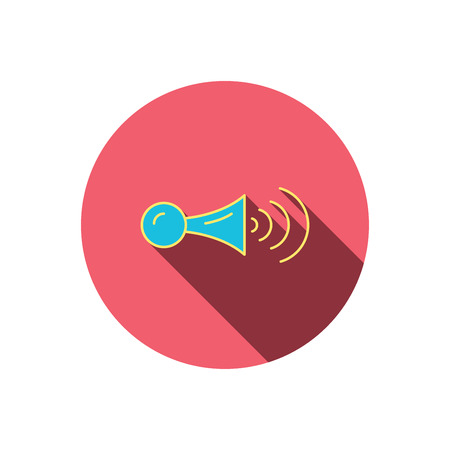 decibel: Klaxon signal icon. Car horn sign. Red flat circle button. Linear icon with shadow. Vector