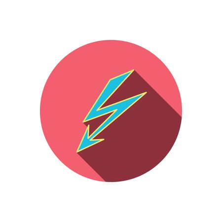 lightening: Lightening bolt icon. Power supply sign. Electricity symbol. Red flat circle button. Linear icon with shadow. Vector Illustration