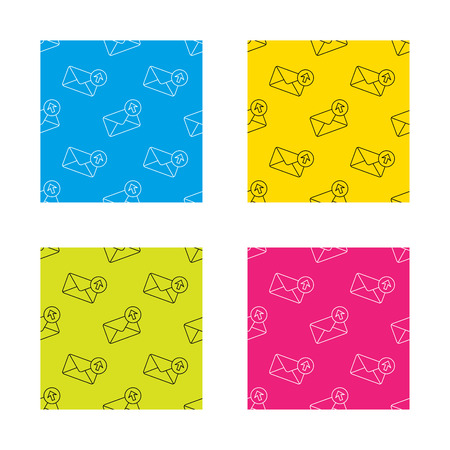 outbox: Mail outbox icon. Email message sign. Upload arrow symbol. Textures with icon. Seamless patterns set. Vector
