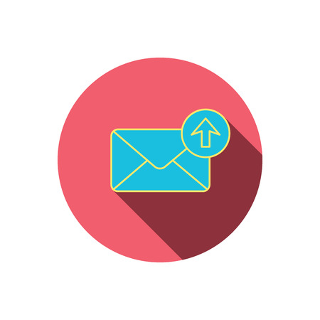outbox: Mail outbox icon. Email message sign. Upload arrow symbol. Red flat circle button. Linear icon with shadow. Vector