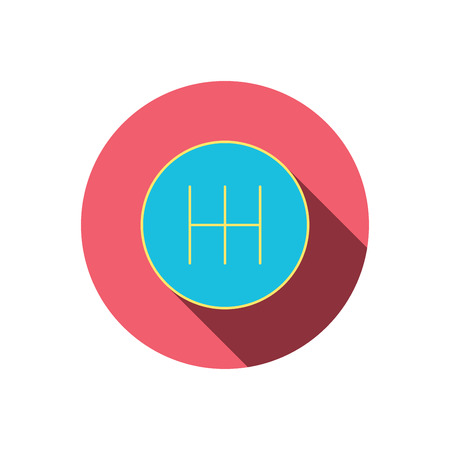 shifter: Manual gearbox icon. Car transmission sign. Red flat circle button. Linear icon with shadow. Vector Illustration