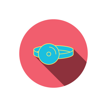 otorhinolaryngology: Medical mirror icon. ORL medicine sign. Otorhinolaryngology diagnosis tool symbol. Red flat circle button. Linear icon with shadow. Vector