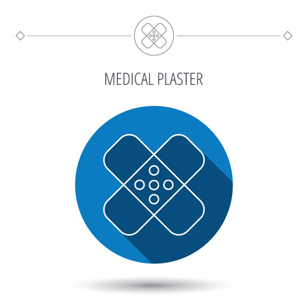 maim: Medical plaster icon. Injury fix sign. Blue flat circle button. Linear icon with shadow. Vector