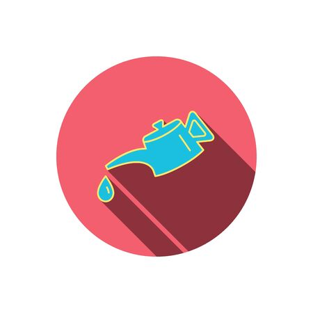 motor oil: Motor oil icon. Fuel can with drop sign. Red flat circle button. Linear icon with shadow. Vector Illustration