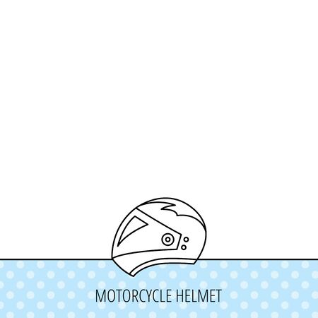 harley: Motorcycle helmet icon. Biking sport sign. Circles seamless pattern. Background with icon. Vector Illustration