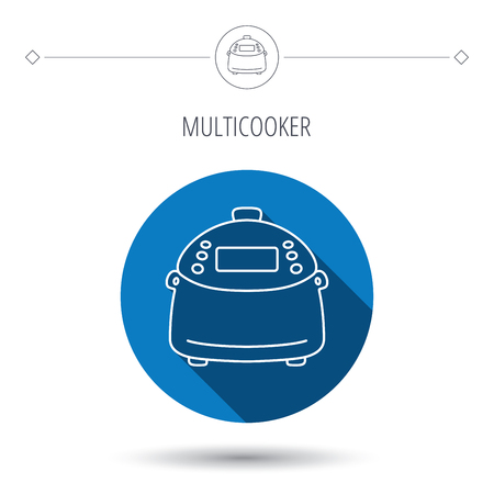 kitchen device: Multicooker icon. Kitchen electric device symbol. Blue flat circle button. Linear icon with shadow. Vector