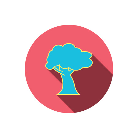coma: Oak tree icon. Forest wood sign. Nature environment symbol. Red flat circle button. Linear icon with shadow. Vector Illustration