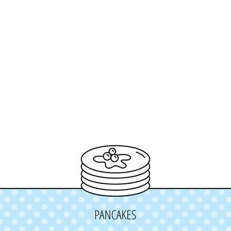 maple syrup: Panqueques icono. Signo desayuno americano. Alimentos con el s�mbolo de jarabe de arce. C�rculos sin patr�n. Fondo con el icono. Vector