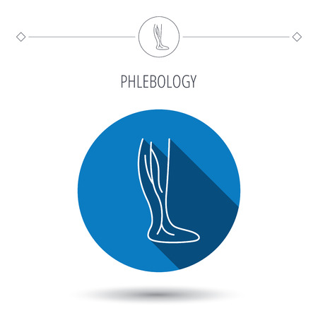 phlebotomy: Phlebology icon. Leg veins sign. Varicose or thrombosis symbol. Blue flat circle button. Linear icon with shadow. Vector